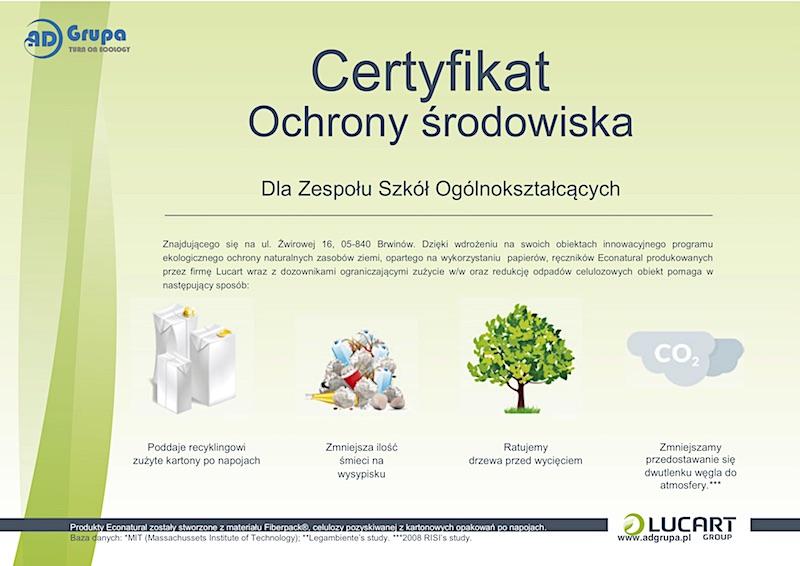Certyfikat Szkoła Żwirowa