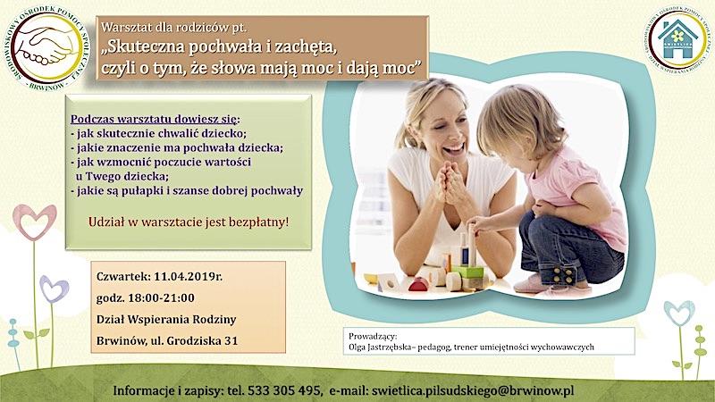 Warsztat dla rodziców nt. pochwał